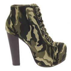 camouflage high heels boot | Shop by