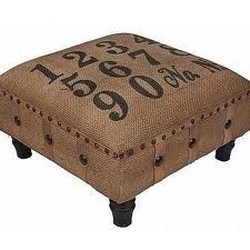 Love this burlap ottoman # # stenciled numbers and decorative Upholstery tacks. Furniture Projects, Furniture Makeover, Diy Furniture, Furniture Design, Burlap Projects, Burlap Crafts, Burlap Ottoman, Coffee Sacks, Do It Yourself Furniture