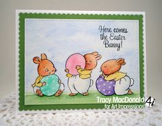 Art Impressions Rubber Stamps: Ai Easter: Hoppy Easter Set (Sku#4754) ... handmade card. bunnies, bunny, rabbits