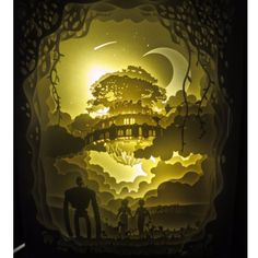 Studio Ghibli Castle In the Sky Laputa Handmade Paper Craft Night Light Shadow Box Music Box Artwork Frame Decoration DIY Kleiner Muck, Kirigami, Lightbox Art, Lampe 3d, Paper Art, Paper Crafts, Shadow Box Art, Castle In The Sky, Wall Drawing