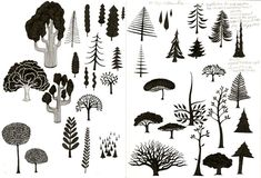 "Susan Wolsborn ""50 Ways to Draw a Tree"" http://susanwolsborn.com/art/image-pages/trees-50-ways.htm"