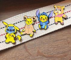 Pokemon Enamel Pins & Disney Enamel Pins Mashup  - Pikachu, Stitch, Teddiursa, and Winnie the Pooh set of 4 Lapel Enamel Pins by ThePinShoppe on Etsy https://www.etsy.com/ca/listing/486799899/pokemon-enamel-pins-disney-enamel-pins