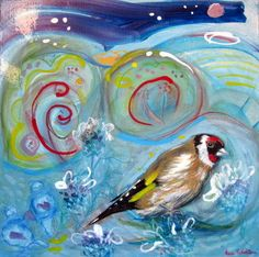 Original painting goldfinch bird 10 x 10 blue by StudioBee on Etsy (Art & Collectibles, Painting, Acrylic, painting, europeanstreetteam, art, acrylic on canvas, animal painting, original painting, bird painting, small painting, goldfinch, blue red gold, blue painting, Studio Bee, abstract painting)
