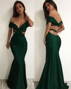 Dark Green 2017 New Prom Dress,Off The Shoulder