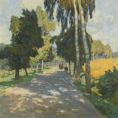 CARL MOLL (1861-1945), BAUMALLEE IN BRUNTÁL (TREE LINED ROAD IN BRUNTÁL), oil on canvas, 60.5 x 60.5cm