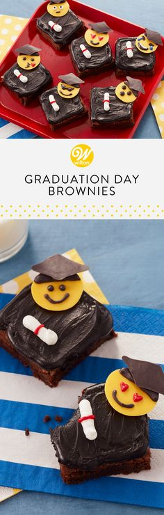Celebrate your graduate with these Graduation Day Brownies! Made with your favorite brownie mix and your favorite Candy Melts candy to customize these treats for your graduate! Wilton Cakes, Fondant Cakes, Cupcake Cakes, Graduation Treats, Graduation Day, New Cooking, Cooking Ideas, Food Ideas, Gorgeous Cakes