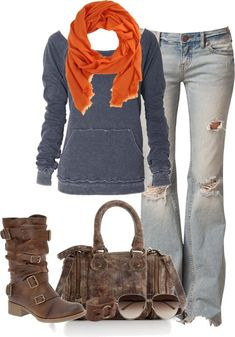 Jeans, blue sweatshirt, orange and brown accessories.