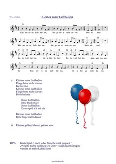 """Sheet music """"Little Red Balloon"""" Kitakiste - Epik Game Red Balloon, Balloons, Classroom Organisation, Blogger Themes, Kids Education, Little Red, Sheet Music, Told You So, This Or That Questions"""