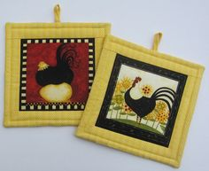 Rooster and Hen Pot Holders Set of Two by QuiltingGranny on Etsy, $15.00