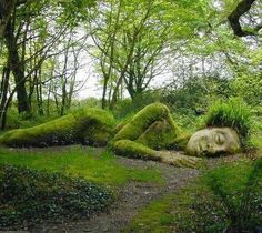 Sleeping Goddess at the Lost Gardens of Heligan, England    She is called the Mud Maid.