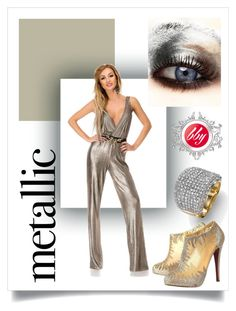 """""""Metallic you."""" by teambby ❤ liked on Polyvore featuring Christian Louboutin, simple, Silver, metallic and jumpsuit"""
