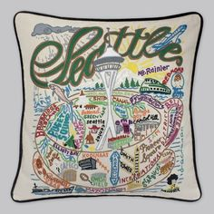Hand-Embroidered Pillow - Seattle by Catstudio
