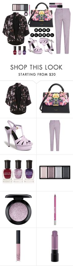 """Dark Florals"" by ardhanrania ❤ liked on Polyvore featuring Dorothy Perkins, Ted Baker, Yves Saint Laurent, Etro, Deborah Lippmann, Clé de Peau Beauté, MAC Cosmetics, Urban Decay and NARS Cosmetics"
