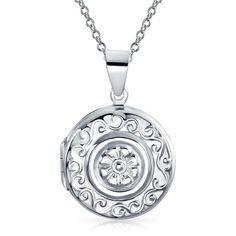 Sailors Embossed Flower 925 Sterling Round Locket Pendant (120 PLN) ❤ liked on Polyvore featuring jewelry, pendants, clear, necklaces, heart locket pendant, engraved locket, heart locket, charm pendants and engraved pendants