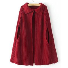 Solid Color Turn-Down Collar Short Sleeve Trendy Style Women's Cardigan Cape, WINE RED, ONE SIZE in Sweaters & Cardigans | DressLily.com