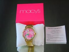 Quartz-Floral-Fashion-Watch-Macys-Gold-Tone-Stretch-Band-Large-Face-NWT-Gift