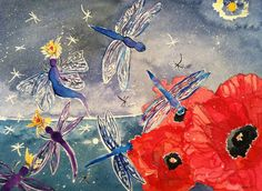 Watercolor Painting Dragonfly Nymphs by Lillian by DomeLifeStudios