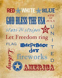 printable USA patriotic July 4th wordart