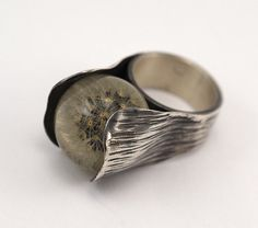 ART NOUVEAU Sterling Silver Ring with dandelion, botanical jewellery