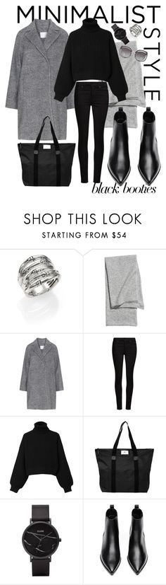 """Black Booties // Stockholm Style"" by caitlynmeyermua ❤ liked on Polyvore featuring John Hardy, AllSaints, Diesel, DAY Birger et Mikkelsen, CLUSE, Acne Studios, Miu Miu, blackbooties and fallfashion"
