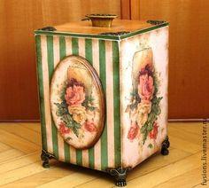 """Большой короб """"Чайные розы"""" - розы,букет,зеленый,короб,большой короб,винтаж"""