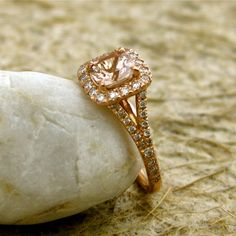 Antique Cushion Cut Peach Morganite Engagement Ring with Diamonds in Rose Gold Setting with Split Shank Size 5 Bling Wedding, Wedding Jewelry, Wedding Rings, Dream Wedding, Feather Ring, Cheap Engagement Rings, Morganite Engagement, Diamond Sizes, Dream Ring