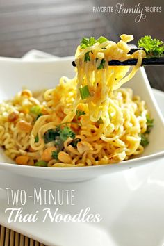 12 Better Than Take-Out Noodle Recipes These Two Minute Thai Peanut Noodles were made on a regular basis in college. The perfect way to upgrade ramen noodles to a tasty dinner on a budget. Ramen Recipes, Noodle Recipes, Asian Recipes, Cooking Recipes, Healthy Recipes, Fast Recipes, Cooking Bacon, Thai Recipes, Lunch Recipes