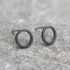 Black circle sterling silver stud earrings - minimalist, every day earrings