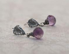 Leaf earrings amethyst earrings sterling by SylviaArtGallery