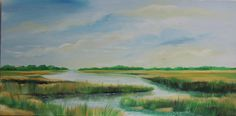 Original oil painting by Cape Cod artist James Burbank oil on canvas - 15 x 30 Subject matter - seascape, Cape Cod marshland painted Salt Marsh, Antique Pictures, Cape Cod, Travel Usa, Oil On Canvas, The Originals, Antiques, Awesome, Artist