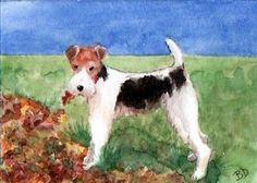 ACEO TW SEP Autumn Leaves Watercolor Dog Wire Hair Fox Terrier Art Card Donati