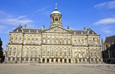 Royal Palace, Amsterdam - Orignially built as the Town Hall in 1655. A royal palace of Louis Napoleon (1806-10) & his son Napoleon Bonaparte (1810-13). Prince William of Orange returned in 1813 & restored palace to original owners. A property of the Kingdom of the Netherlands since 1936, used today for official receptions & state visits. In 1980, Queen Beatrix appeared on the balcony after her investiture and in 2002 Willem-Alexander & Maxima shared their first kiss after their marriage.
