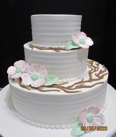 Custom made dogwood flowers on a three tier cake Three Tier Cake, Traditional Wedding Cakes, Dogwood Flowers, Tiered Cakes, Desserts, Food, Tailgate Desserts, Deserts, Essen