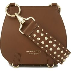 Burberry Studded leather shoulder bag ($1,990) ❤ liked on Polyvore featuring bags, handbags, shoulder bags, leather shoulder bag, leather handbags, brown leather purse, studded shoulder bag and brown leather shoulder bag