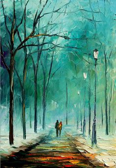"Winter — PALETTE KNIFE Modern Landscape Oil Painting On Canvas By Leonid Afremov - Size: 20"" x 30"" (50 cm x 75 cm)"