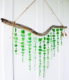 Large Sea Glass Mobile/ Wall Hanging / Rustic Decor / Beach Art