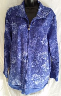 Liz & Me Sport zip front warm up/ sweat jacket NEW  Plus Size 16 W purple floral #LizMe #FleeceJacket