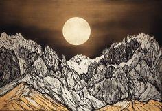 Matazo Kayama,  Gekko sanrei (Mountain peaks in moonlight)