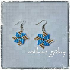 Rüzgar Gülü.. Beaded wind rose earrings