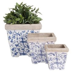 Featuring a traditional vine pattern, this ceramic flower pot set is ideal for planting herbs along your kitchen window ledge or displaying shrubs on your pa...