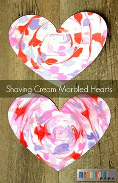 Homemade DIY Marbled Valentine Heart with Shaving Cream - Great Craft for Kids of All Ages this Valentine's Day #valentinesday #valentine #valentinecraft #kidcrafts