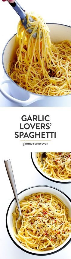 This Garlic Lovers' Spaghetti is quick and easy to make, it's packed with simple and ultra-garlicky Italian flavors, and it's absolutely delicious. | http://gimmesomeoven.com