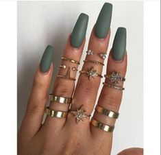 Long Coffin Nails – Matte Grace Green from Models Own – The Best Nail Designs – Nail Polish Colors & Trends Coffin Nails Matte, Best Acrylic Nails, Matte Nail Polish, Gel Polish, Nails Yellow, Matte Green Nails, Brown Nails, Purple Nails, Long Nails