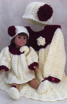 "18"" Paper Moon Dolly & Me Dress Set Crochet Pattern"