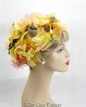 Vintage 1960s 60s Hat Yellow and Peach Floral Turban