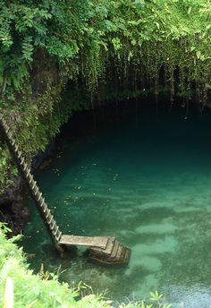 To Sua (ocean trench), one of two large holes in the ground by the coast in Lotofaga village, Upolu island in Samoa