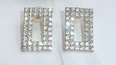 DaZzLiNg Vintage Rhinestone Earrings. Rectangular Shape. At AngelGrace on Etsy.
