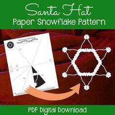Santa Hat Paper Snowflake - easy paper snowflake pattern. Printable PDF download - print, fold, cut, enjoy!   #printable #snowflake #papersnowflake #christmas #snowflakepattern #papersnowflakepattern #snowflaketemplate #25daysofsnowflakes