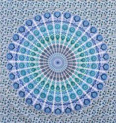 Handmade Mandala Tapestry Boho Mandala Wall Hanging Bedspread Psychedelic Tapestries Wall Decor Blue Color