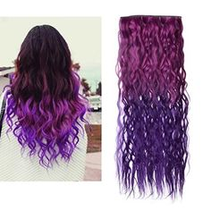 Bestrice Ombre Dip-dye Color Clip in Straight Synthetic Thick Hair Extension inches Length Red to Purple Loose Curl for Fashion Girls Purple Hair Extensions, Clip In Hair Extensions, Long Curly Hair, Curly Hair Styles, Thick Hair, Blue Tips Hair, Hair Color Purple, Hair Colours, Dark Purple